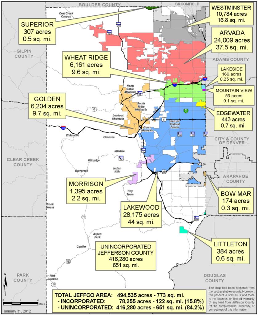 Jeffco cities vs unincorporated areas